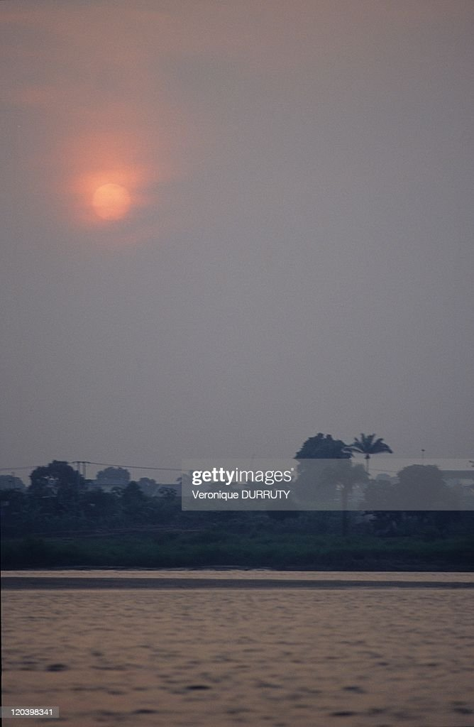 River Bank At Dawn Near Brazzaville In Congo