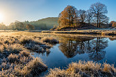 Glowing golden light shining on Autumnal frosty scene at the River Brathay, Lake District, UK.