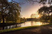 The Park behind Cambridge University. River Cam shot in Evening, Cambridge, UK