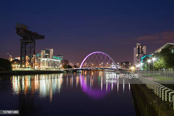 River Clyde, Glasgow at Night towards the Squinty Bridge.