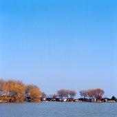 River coast and sky