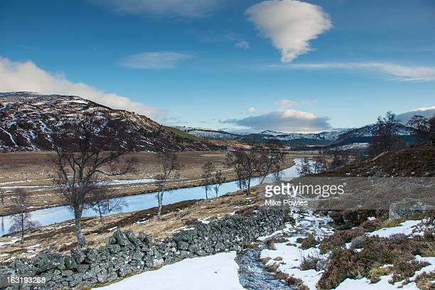 River Dee near Braemar, in snow, Scotland