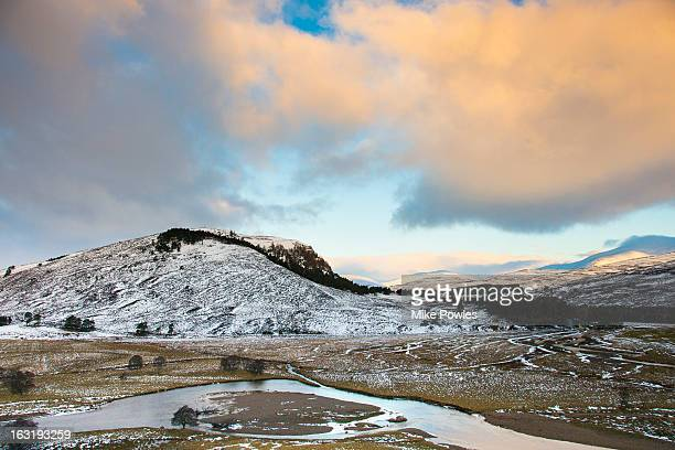 River Dee, winter snow scene, Grampian Mountains