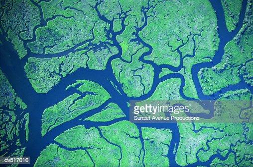 River delta patterns, Columbia River, Western Washington and Western Oregon, USA