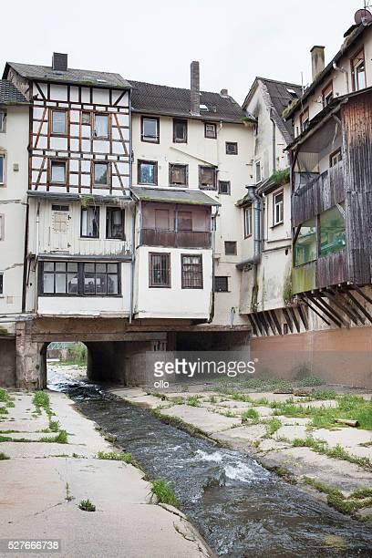 River Ellersbach and half-timbered houses, Bad Kreuznach, German
