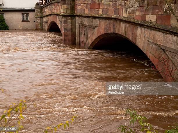 River Flood under Bridge