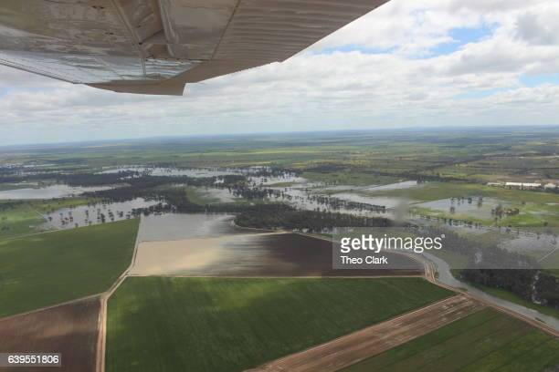River flooding seen from light plane