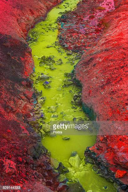 River flowing between volcanic mountains