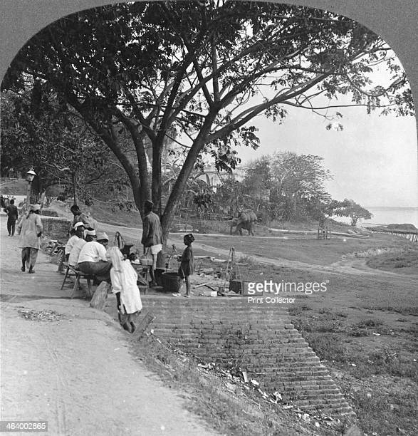 River front and bank Bhamo Burma 1908 Bhamo is situated on the banks of the Irrawaddy Stereoscopic card Detail