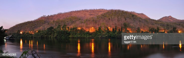 River in forest on twilight : Stock Photo