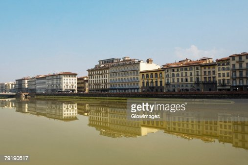 River in front of buildings, Arno River, Florence, Tuscany, Italy : Stock Photo