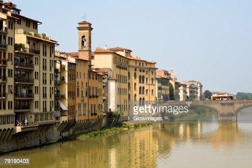 River in front of buildings, Ponte Alle Grazie, Arno River, Florence, Tuscany, Italy : Stock Photo