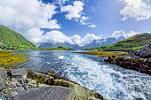 River in wilderness area on Lofoten Islands, Norway.
