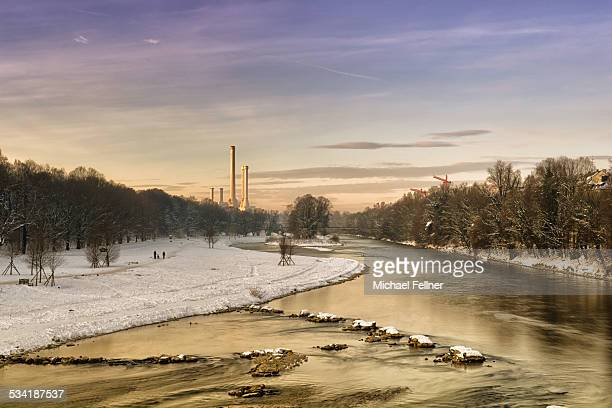 River Isar in Munich in winter morning