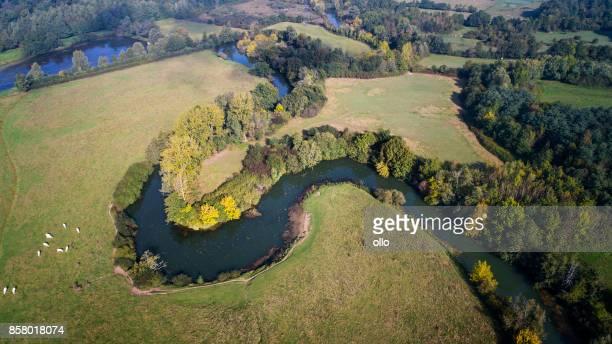River La Seille, France - aerial view