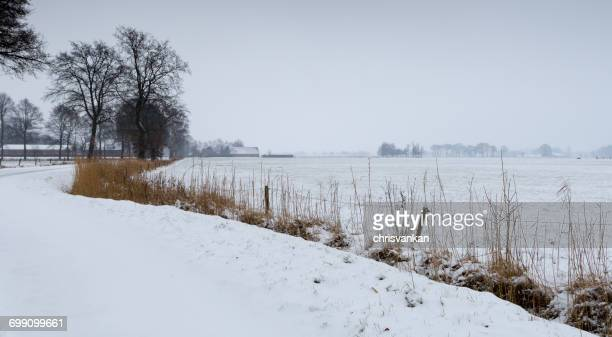 River landscape in snow, Overijssel, Twente, Holland