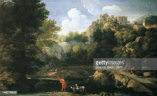 River landscape showing a shepherd 16671668 by Gaspard Dughet Florence Palazzo Pitti Galleria Palatina