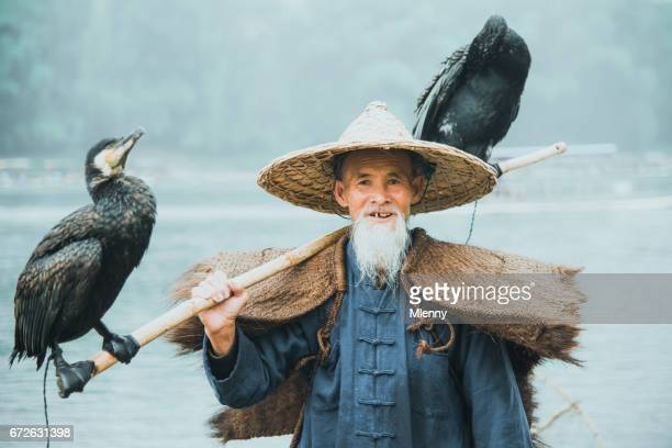 River Lee Chinese Cormorant Fisherman Real People Portrait Li River China