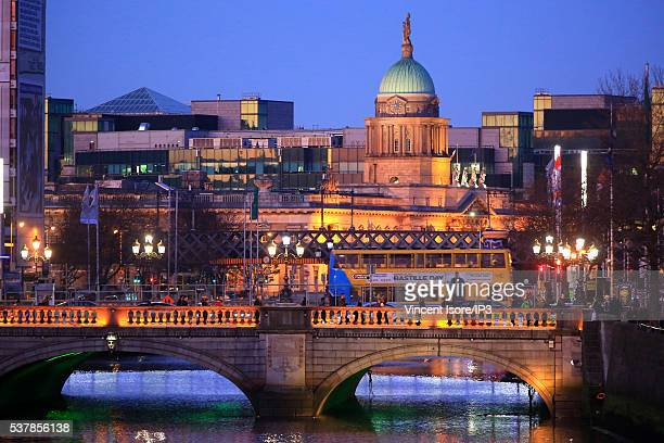 River Liffey in foreground and the Custom House dome as background pictured at dusk on April 20 2016 in Dublin Ireland Illustrative picture of the...