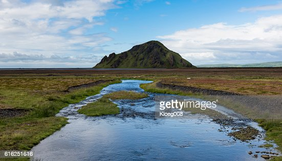 River Markarfljot and Stori Dimon : Stock Photo