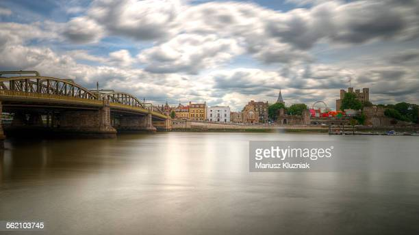 River Medway, steel bridge and Rochester castle