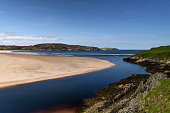 Where the Naver meets the sea. River Naver and Torrisdale Beach near Bettyhill in Sutherland, Scotland.