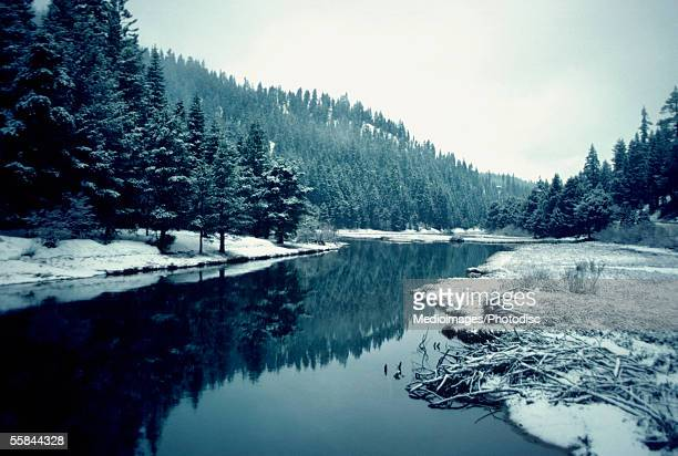 River near Lake Tahoe in winter, California, USA