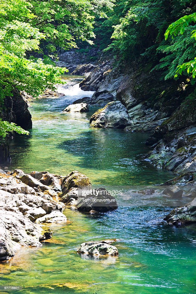 A river near Minakami Onsen area : Stock Photo