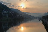 River Neckar at sunrise