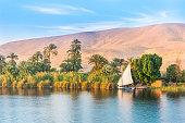 River Nile in Egypt. Luxor, Africa.