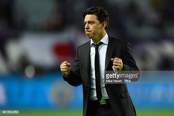 River Plate coach Marcelo Gallardo celebrates at the final whistle of the FIFA Club World Cup Japan 2015 Semi Final between Sanfrecce Hiroshima and...