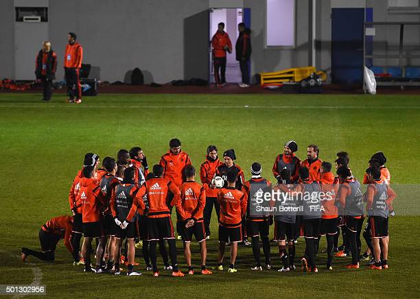 River Plate coach Marcelo Gallardo talks to the players during a training session at J Green Sakai on December 14 2015 in Osaka Japan