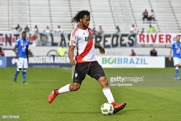 River Plate defender Arturo Mina during the first half of a Florida Cup quarterfinal match between River Plate and Millenarios FC on January 15 at...