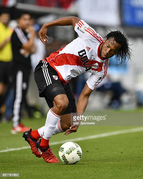 River Plate defender Arturo Mina wins the ball during the first half of a Florida Cup quarterfinal match between River Plate and Millenarios FC on...