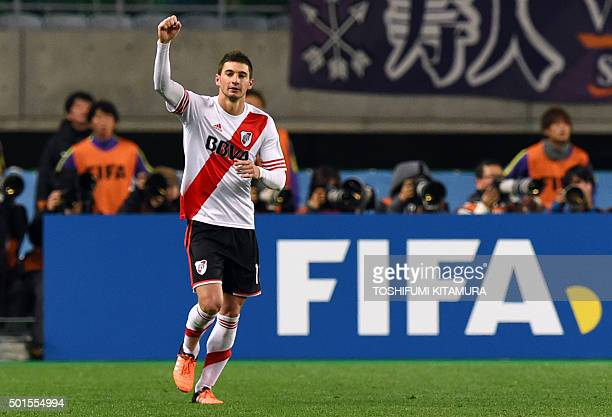River Plate forward Lucas Alario celebrates his goal against Sanfrecce Hiroshima during their Club World Cup semifinal football match in Osaka on...