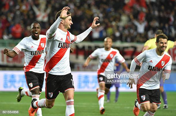 River Plate forward Lucas Alario celebrates his winning goal against Sanfrecce Hiroshima during their Club World Cup semifinal football match in...