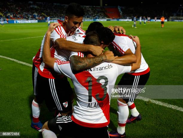River Plate players celebrate Lucas Alario's goal during the match between Godoy Cruz and River Plate as part of the Torneo Primera Division 2016/17...