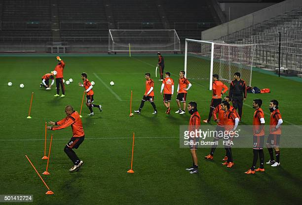 River Plate players warm up during a training session at Osaka Nagai Stadium on December 15 2015 in Osaka Japan