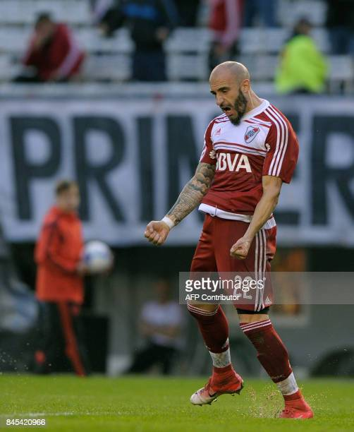 River Plate's defender Javier Pinola celebrates after scoring a goal against Banfield during their Argentina First Division Superliga football match...