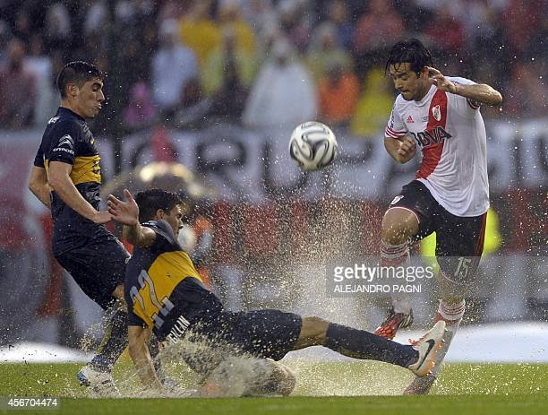 River Plate's forward Leonardo Pisculichi vies for the ball with Boca Juniors' midfielder Lisandro Magallan during their Argentine First Division...
