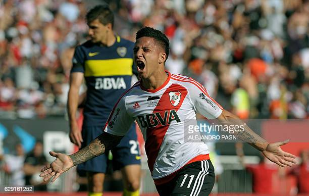 River Plate's forward Sebastian Driussi celebrates after scoring a goal against Boca Juniors during their Argentina First Division football match at...