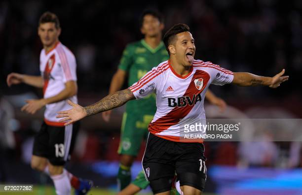 River Plate's forward Sebastian Driussi celebrates after scoring a goal against Sarmiento during their Argentina First Divsion football match at...