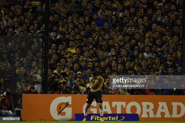 River Plate's forward Sebastian Driussi celebrates after scoring against Boca Juniors during the Argentina first division football match at the La...