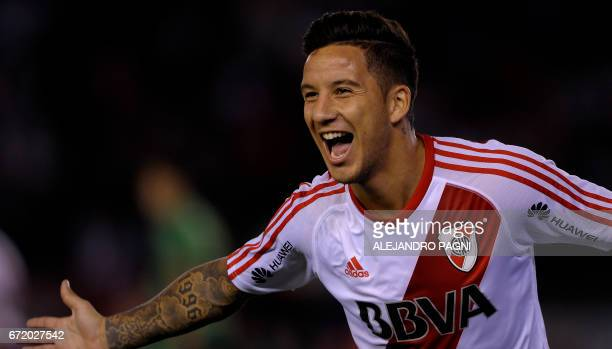 River Plate's forward Sebastian Driussi celebrates after scoring against Sarmiento during their Argentina First Divsion football match at Antonio...