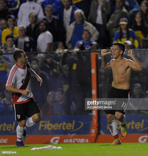River Plate's forward Sebastian Driussi celebrates after scoring the team's third goal against Boca Juniors during the Argentina first division...