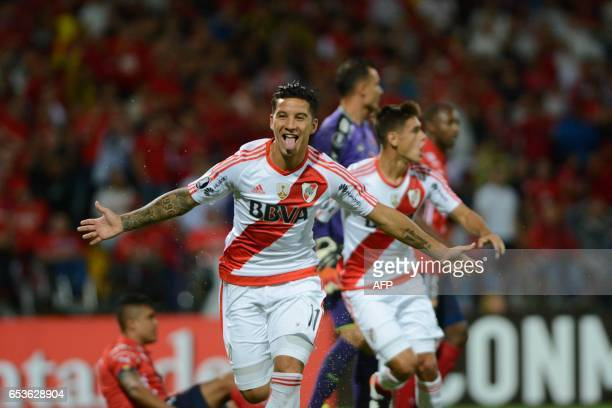 River Plate's Sebastian Driussi celebrates after scoring against Independiente Medellin during their Copa Libertadores 2017 football match at the...