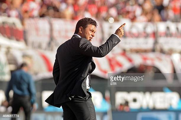 River Plate's team coach Marcelo Gallardo gestures during their Argentina First Division football match against San Lorenzo at Antonio Liberti...