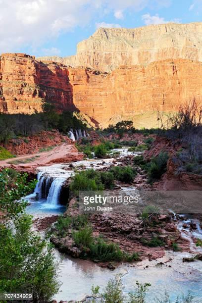 River pouring over Havasu Falls, Grand Canyon, United States