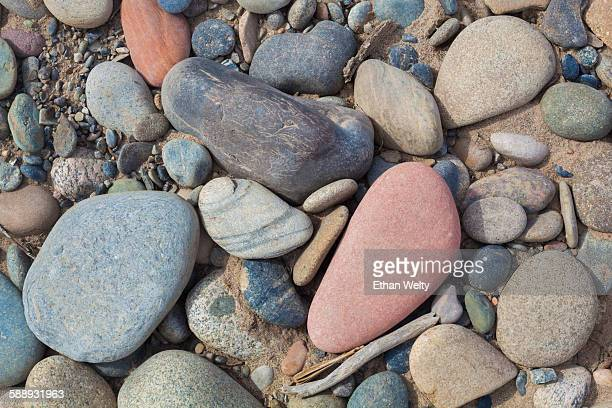 River rocks on a bank of the Colorado River in Horsethief Canyon, Colorado.