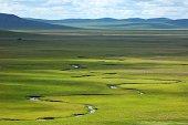 River running on grassland